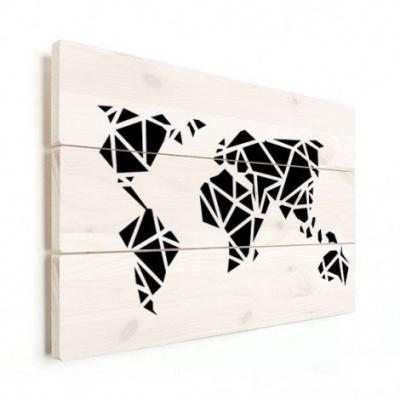 Wereldkaart Geometrische Vakken - Horizontale planken hout 80x60
