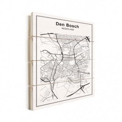 Stadskaart Den Bosch - Verticale planken hout 60x80