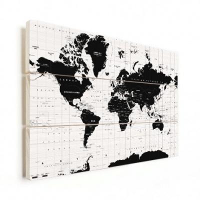 Wereldkaart Zwart Aardrijkskundig - Horizontale planken hout 40x30
