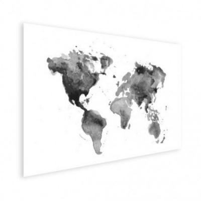 Wereldkaart Grijstint Aquarel - Houten plaat 120x80