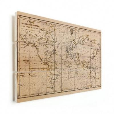 Wereldkaart Magnetische Curven - Verticale planken hout 80x60