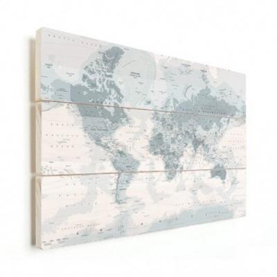 Wereldkaart Landen Grijstint - Horizontale planken hout 80x60