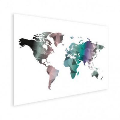 Wereldkaart Geometrische Kleuren - Houten plaat 80x60