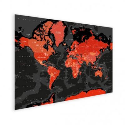 Wereldkaart Rood Land Zwart Water Apocalypse - Houten plaat 120x80