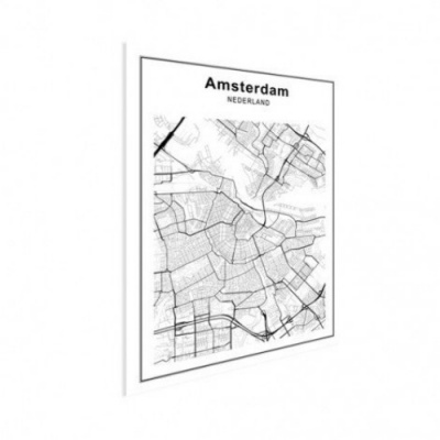 Stadskaart Amsterdam - Houten Plaat 60x80
