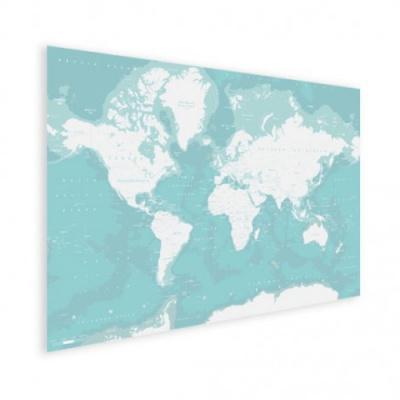Wereldkaart Pastel Zee Winter - Houten plaat 120x80