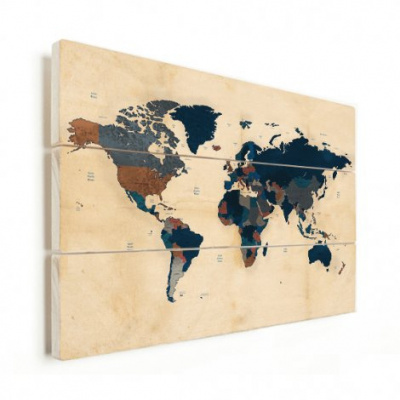 Wereldkaart Landen Donkere Tinten - Verticale planken hout 120x80