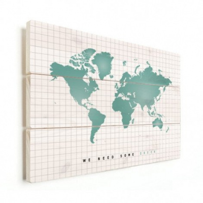 Wereldkaart We Need Some Green - Horizontale planken hout 40x30