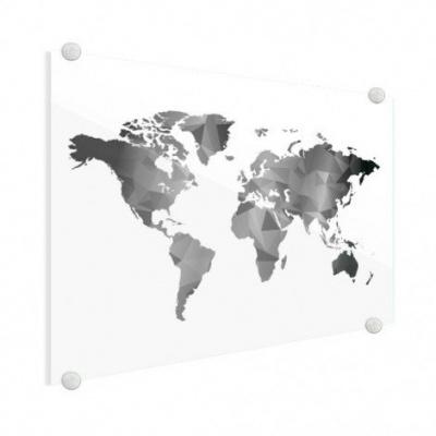 Wereldkaart Geometrische Vakken Wit - Plexiglas 100x50