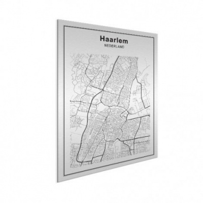 Stadskaart Haarlem - Geborsteld aluminium 30x40