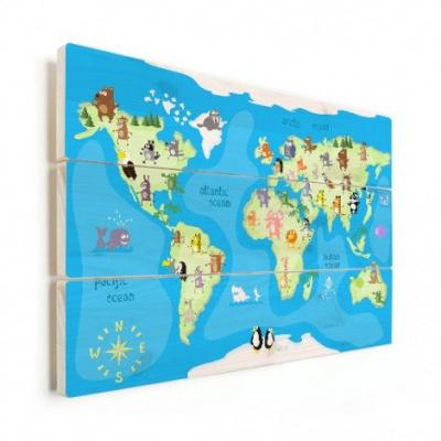 Wereldkaart Vrolijke Dieren Van De Wereld - Horizontale planken hout 120x80
