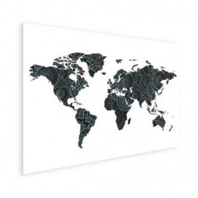 Wereldkaart Circelpatroon Diagonale Lijnen Blauwtint - Houten plaat 40x30