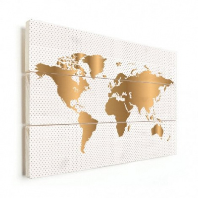 Wereldkaart Golden Dots - Horizontale planken hout 90x60