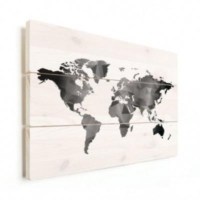 Wereldkaart Geometrische Vakken Wit - Horizontale planken hout 120x80