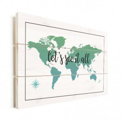 Wereldkaart Let's See It All Groen - Horizontale planken hout 80x60