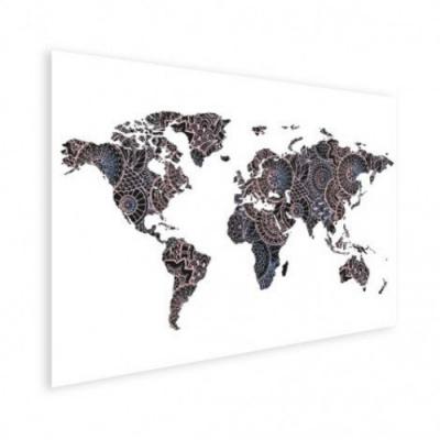 Wereldkaart Circelpatroon Diagonale Lijnen Paarstint - Houten plaat 80x60