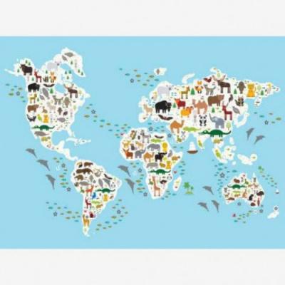 Wereldkaart Dieren Van De Wereld - Houten plaat 120x80