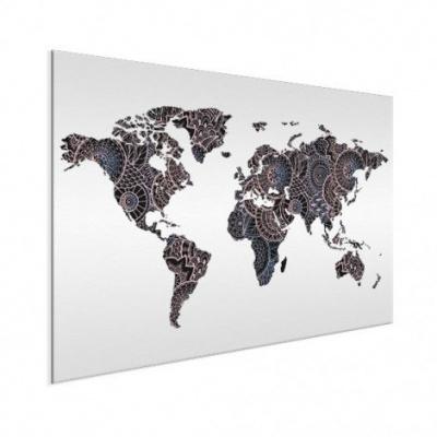Wereldkaart Circelpatroon Diagonale Lijnen Paarstint - Wit aluminium 120x90
