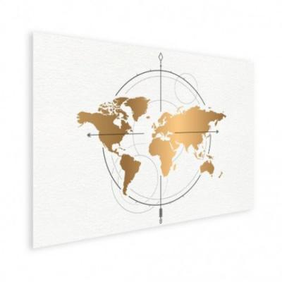 Wereldkaart Golden Compass - Houten plaat 80x60