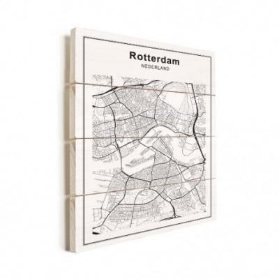 Stadskaart Rotterdam - Verticale planken hout 30x40