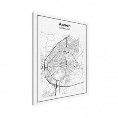 Stadskaart Assen - Canvas 50x70