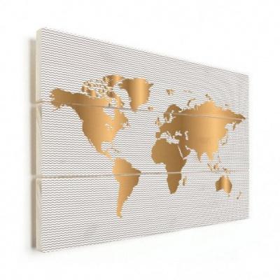 Wereldkaart Golden Waves - Horizontale planken hout 80x60