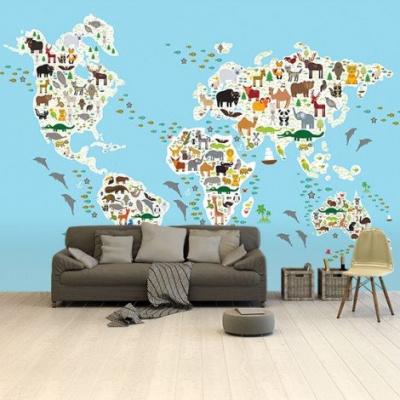 Wereldkaart Dieren Van De Wereld - Airtex behang 265x350