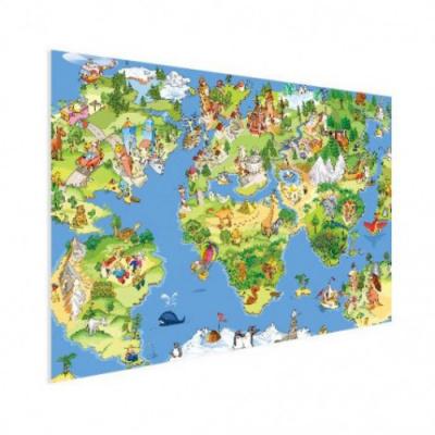 Wereldkaart Prent Dieren En Bezienswaardigheden - Houten plaat 120x80