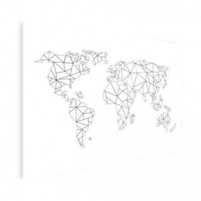 Wereldkaart Geometrische Lijnen - Houten plaat 80x60