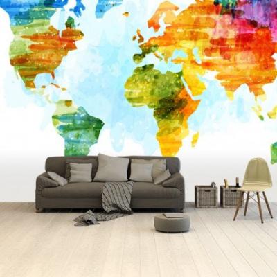 Wereldkaart Ecoline Kleuren - Airtex behang 265x350