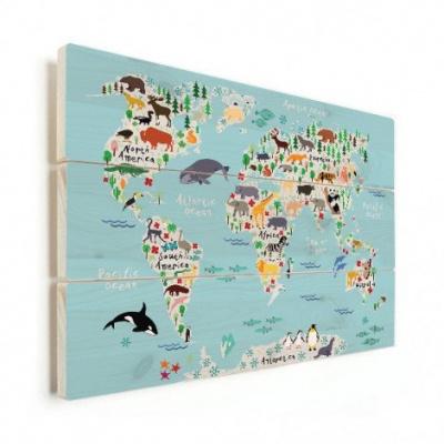 Wereldkaart Ons Dierenrijk En De Continenten - Horizontale planken hout 90x60