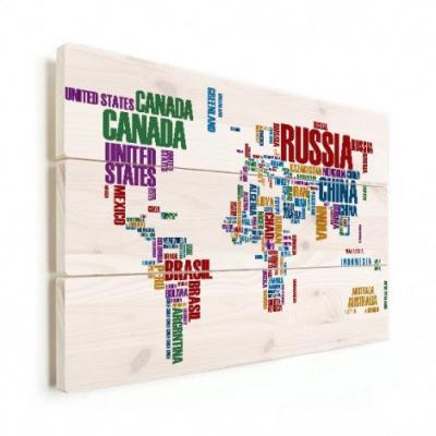 Wereldkaart Continenten In Tekst Kleur - Horizontale planken hout 80x60