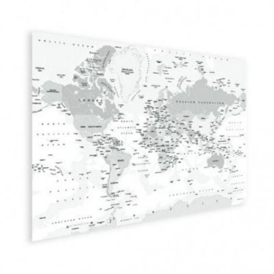 Wereldkaart Landen Grijstint - Poster 150x100