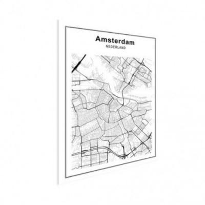 Stadskaart Amsterdam - Houten Plaat 30x40