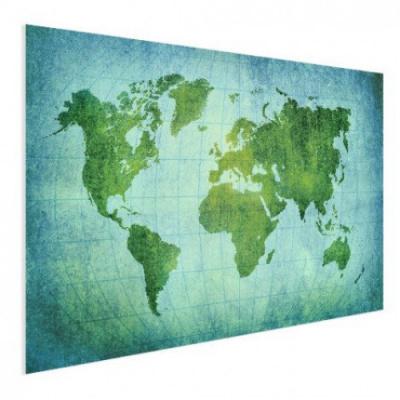 Wereldkaart Vervaagd Groen - Houten plaat 120x80