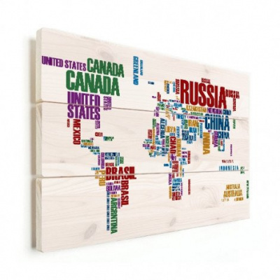 Wereldkaart Continenten In Tekst Kleur - Horizontale planken hout 40x30