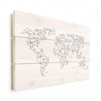 Wereldkaart Geometrische Lijnen - Horizontale planken hout 90x60