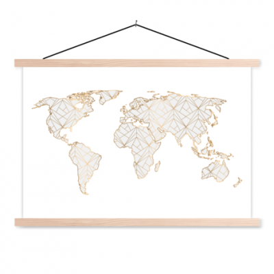 Wereldkaart Geometrische Gouden Lijnen Grijs - Schoolplaat 90x60