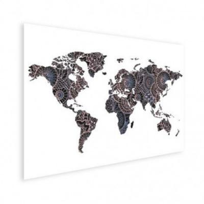 Wereldkaart Circelpatroon Diagonale Lijnen Paarstint - Poster 90x60
