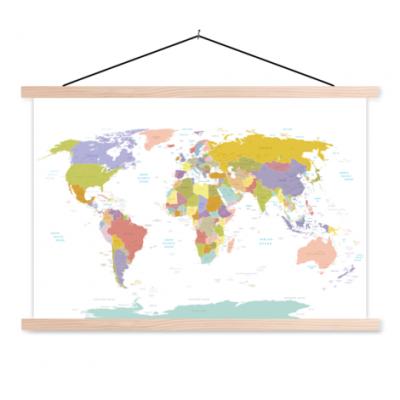 Wereldkaart Alle Landen - Pastel - Schoolplaat 90x60