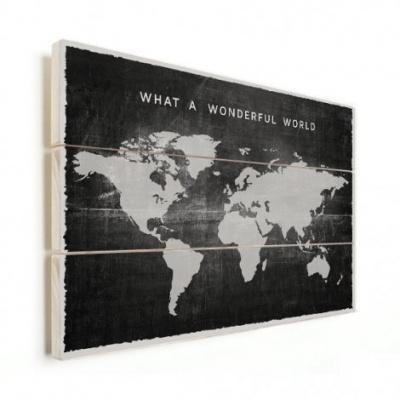 Wereldkaart What A Wonderful World Zwart - Horizontale planken hout 40x30