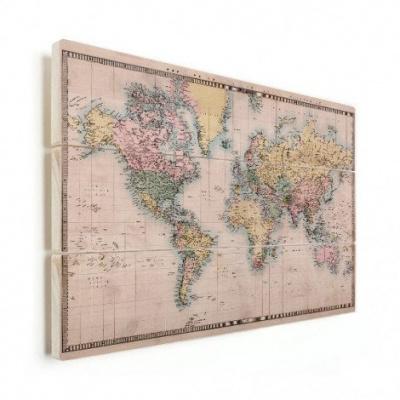 Wereldkaart Aardrijkskundig Terrein - Horizontale planken hout 90x60