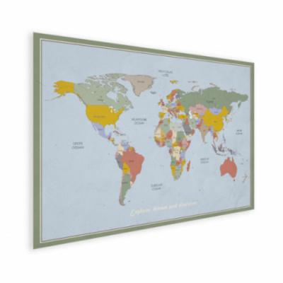 Wereldkaart Aardrijkskundig Explore Kleuren - Houten plaat 80x60