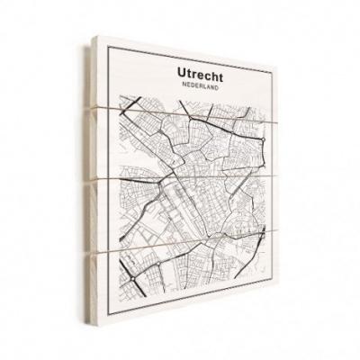 Stadskaart Utrecht - Verticale planken hout 50x70