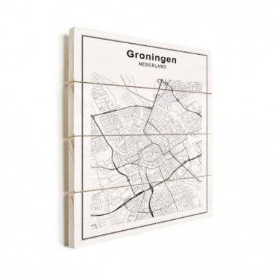 Stadskaart Groningen - Verticale planken hout 50x70