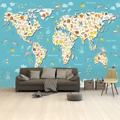Wereldkaart Spot Alle Dieren - Vinylbehang 265x350