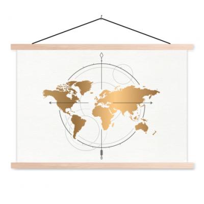 Wereldkaart Golden Compass - Schoolplaat 60x40