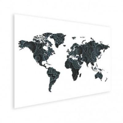 Wereldkaart Circelpatroon Diagonale Lijnen Blauwtint - Poster 120x90