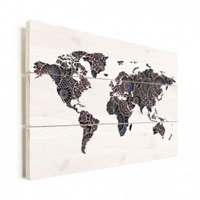 Wereldkaart Circelpatroon Diagonale Lijnen Paarstint - Verticale planken hout 80x60