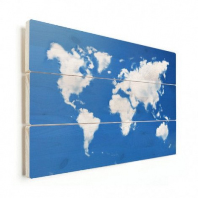 Wereldkaart Wolken - Horizontale planken hout 90x60